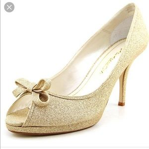 Caparros Peep Toe Shoes Sparkling Gold